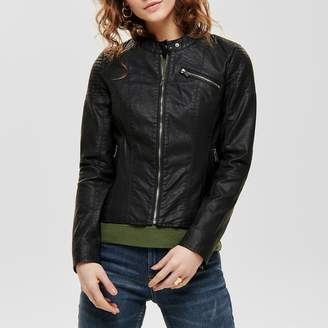 Only Faux Leather Biker Jacket with Bomber Collar