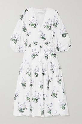 Les Rêveries Ruffle-trimmed Floral-print Cotton-voile Wrap Dress - White