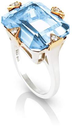 MANIAMANIA Cocktail Ring with Blue Topaz & Diamonds