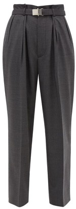 Miu Miu Belted Wool Trousers - Dark Grey