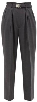 Miu Miu Belted Wool Trousers - Womens - Dark Grey