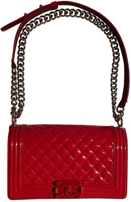 Chanel Boy Red Patent leather Handbags