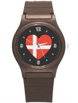 "Kidozooo Boys Girls Heart Shaped Danish Flag 1 3/8"" Diameter Plastic Watch"