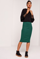 Missguided Ribbed Midi Skirt Green