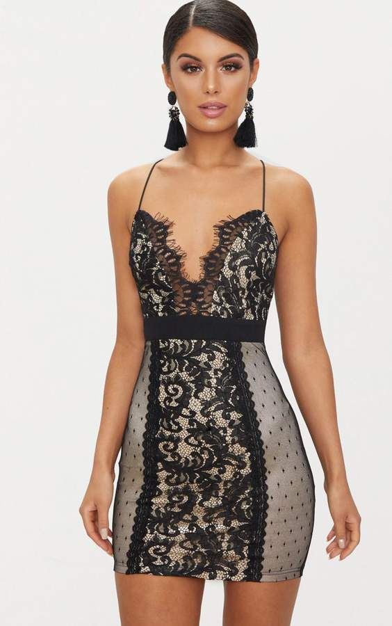 PrettyLittleThing Black Lace Panel Plunge Bodycon Dress