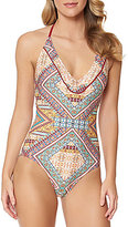 Jessica Simpson Day Tripper Lace-Up Back Plunge One-Piece
