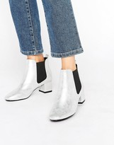 Raid Aimee Silver Mid Heeled Ankle Boots