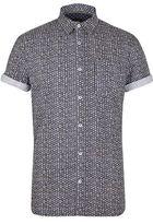 Burton Mens Khaki Short Sleeve Print Shirt