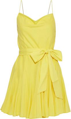 Alice + Olivia Webber Belted Cotton-voile Mini Dress