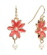 Lauren Conrad simulated crystal and simulated pearl flower drop earrings