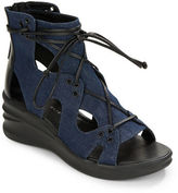 Elie Tahari Lace-up Gladiator Wedge Sandals