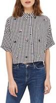 Topshop Women's Kady Embroidered Gingham Shirt
