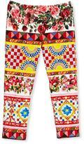 Dolce & Gabbana Stretch Jersey Mambo Leggings, Multicolor, Size 8-12