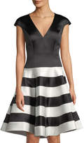 Jovani Cap-Sleeve Fit-and-Flare Stripe Cocktail Dress