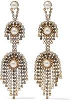 Elizabeth Cole Gold-Tone Faux Pearl And Crystal Earrings
