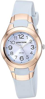 Armitron Sport Women's 25/6418PBL Rose Gold-Tone Accented Easy to Read Powder Blue Resin Strap Watch