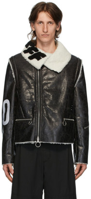 Off-White Black and White Shearling Zip-Off Sleeve Jacket