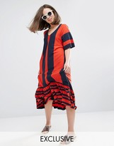 Monki Stripe V Neck Ruffle Hem Dress