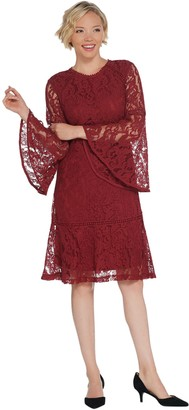 Isaac Mizrahi Live! Bell Sleeve Lace Dress with Flounce Hem