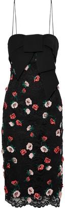 Lela Rose Bow-embellished Floral-appliqued Corded Lace Dress