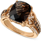 LeVian Le Vian® Chocolatier with Chocolate Quartz® (4-1/2 ct. t.w.) and Diamond (1/2 ct. t.w.) Ring in 14k Rose Gold