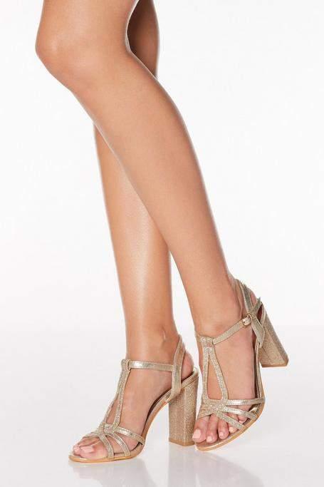 c3456235311 Gold Strappy T Bar Block Heel Sandals
