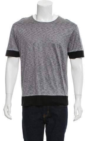 Balenciaga Silk-Paneled Crew Neck T-Shirt