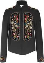Vilshenko Misha Embroidered Velvet-paneled Gabardine Jacket - Black
