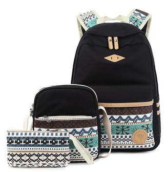 Ella & Elly Women's Clutches Black - Black Geometric Backpack Set
