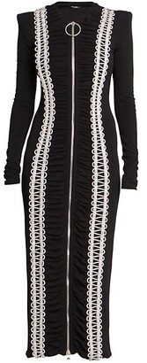 Balmain Soutache Ruched Midi-Dress