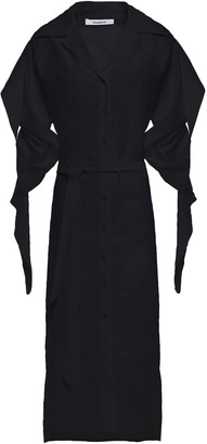 Chalayan Belted Ruched Cotton-poplin Midi Shirt Dress