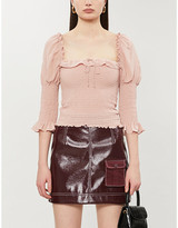 Reformation Rouen shirred woven top