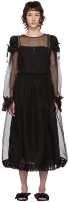 Renli Su Black Silk Sheer Puffed Dress
