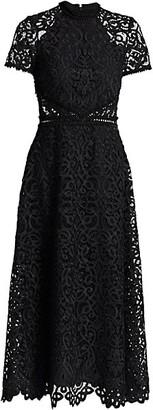 ML Monique Lhuillier Lace Short-Sleeve A-Line Midi Dress