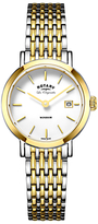 Rotary LB90154/01 Women's Les Originales Windsor Date Two Tone Bracelet Strap Watch, Silver/Gold