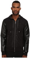Just Cavalli Studded Hoodie with Leather Sleeves