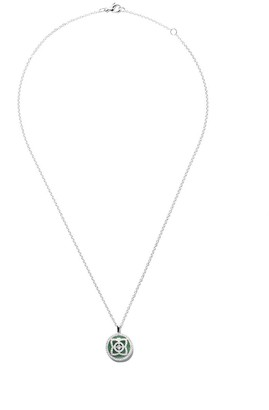 De Beers 18kt white gold Enchanted Lotus Jade Medal diamond necklace