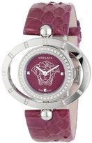 Versace Women's 91Q91FD702 S702 Violet Dial Snake Leather Rotating Bezel Diamond Watch