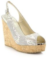 Jimmy Choo Prova 125 Metallic Snakeskin-Print Suede & Cork Wedge Sandals