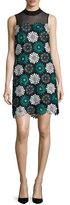 Zac Posen Esme Lace Illusion Shift Dress, Blue/Black