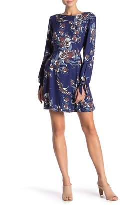 Hale Bob Floral Tie Sleeve Dress