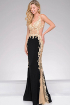 Jovani Sheer Lace Applique Prom Dress JVN33488