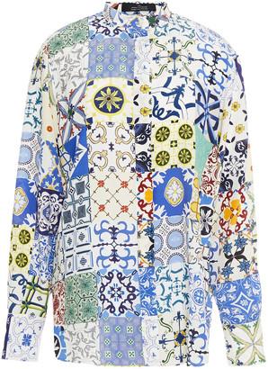 Rokh Open-back Printed Silk Crepe De Chine Shirt