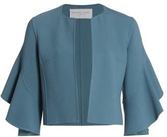 Michael Kors Stretch Boucle Ruffle-Sleeve Jacket