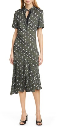 Judith And Charles Bercy Floral & Stripe Asymmetrical Midi Dress
