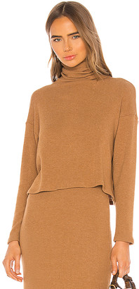 Enza Costa Sweater Knit Cropped Long Sleeve Turtleneck