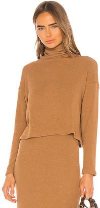 Enza Costa Sweater Knit Cropped Long Sleeve Turtleneck
