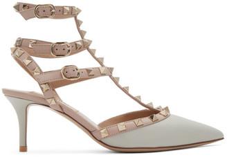 Valentino Grey and Pink Garavani Rockstud Cage Heels