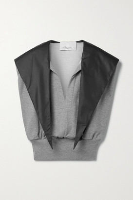3.1 Phillip Lim Hooded Satin-trimmed Cotton-jersey Tank - Gray