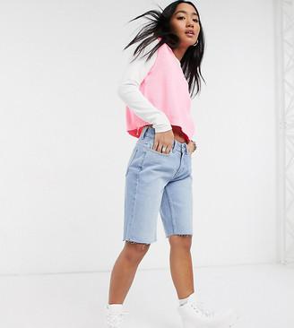 Noisy May Petite longline denim shorts in light blue